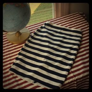 Navy and White Striped Pencil Skirt